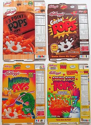 Kellogg's Corn Pops Limited Edition Cereal Box Lot of 4 !
