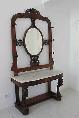 Antique Carved Mahogany Hall Stand with Mirror & Marble top