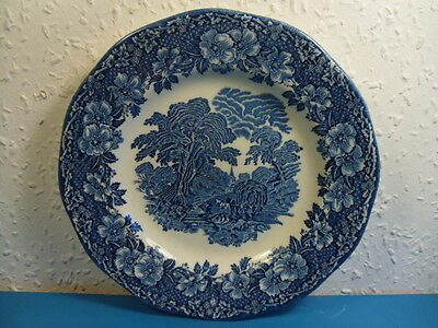 """Vintage Enoch Wedgwood Blue & White Woodland Collectors Plate.Hand Engraved.8"""""""
