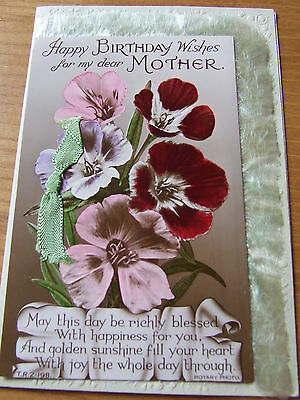 Vintage Greetings Card Painted Sepia Print Fringed Mother Birthday