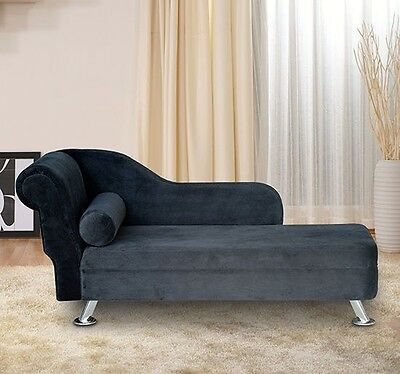 Deluxe Black Velvet Chaise Longue Lounge Sofa Day Bed With Bolster Cushion New