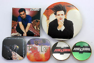 THE CURE Badges 6 x Vintage The Cure Pin Badges * Robert Smith *