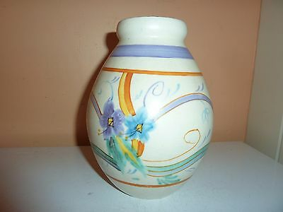 Chameleon Ware--Clews Pottery 17.2Cm High Vase With H/p Art Deco Design Flowers