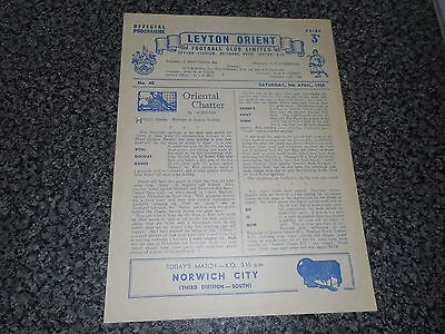 LEYTON ORIENT  v  NORWICH CITY  1954/5  DIVISION 3 (SOUTH) ~ APRIL 9th FREE POST