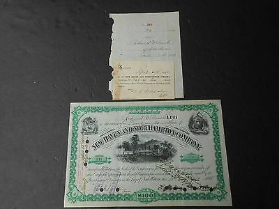 1888 New Haven & Northampton Co Railroad Stock Certificate & Receipt Connecticut