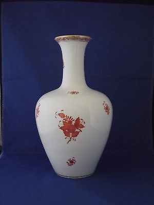 Herend Hungary Hand Painted Chinese Rust Bottle Necked Vase  Pattern No 7086/a06