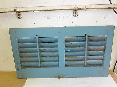 Antique Wood Shabby Chippy House  Double Shutter with Louvers Old Paint