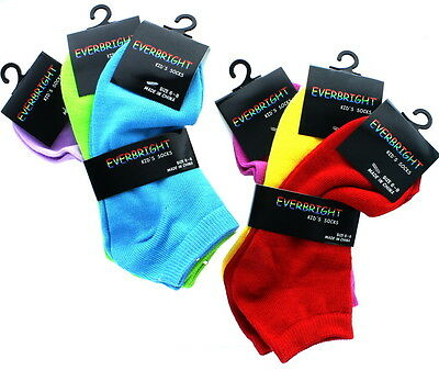 Lot of 6 Pairs Everbright Assorted Neon Colors Kids Socks Size 6-8