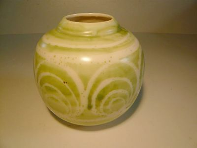 Vintage Aviemore Pottery green swirl round Vase Scottish Collectable 14cm