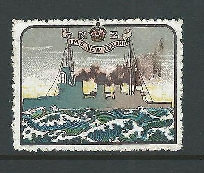 Vignette France DELANDRE ww1 HMS NEW ZEALAND AnzacWWi Poster stamp ENGLAND ww1