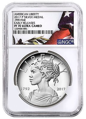 2017 P American Liberty Silver Proof 1 oz Medal NGC PF70 ER with OGP In Hand