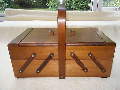 Wooden Two Tier Cantilever Sewing Box - including contents