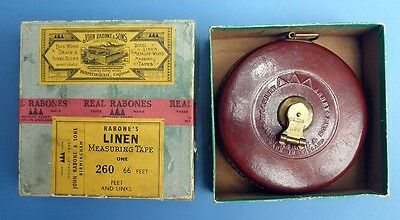 Rabone 66 foot steel linen Surveyor's Measuring Tape with original box, 1900