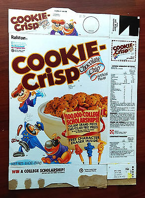1992 Ralston Cookie Crisp Empty Cereal Box with Character Erasers Offer