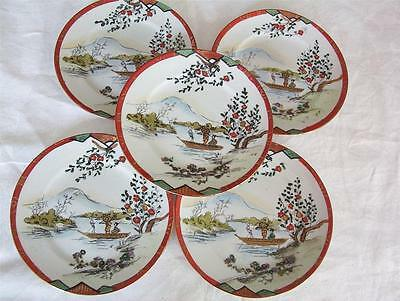 5 Vintage/antique Hand Painted Japanese China Side Plates 15.5Cm - 4 Pics.