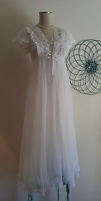 VinTaGe Tosca of California Chiffon & Lace White Nightgown & Peignoir Lingerie~