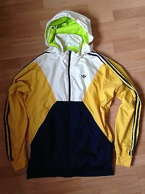 Adidas Tracksuit Top Jacket, Yellow & Blue, 1990's Style, Festival Wear, Medium