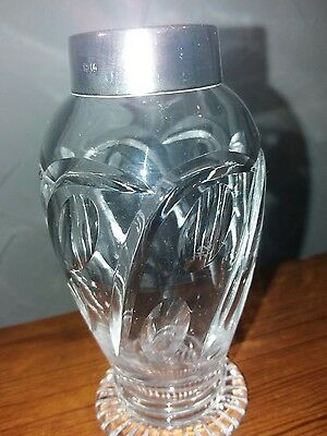 Hallmarked  Silver Topped Cut Glass Vase.