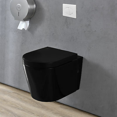 keramik wand h nge wc sp lkasten schwarz soft close toilette klo eur 167 99. Black Bedroom Furniture Sets. Home Design Ideas