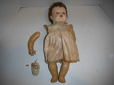 """Antique American Character Doll 19"""" Rubber Flexible Posable eyes close See Pics"""