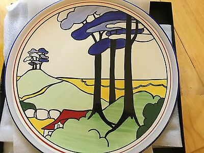 Wedgwood Clarice Cliff Blue Firs Wall Plaque-Mint& Boxed With Certificate