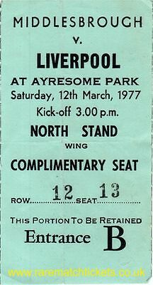 original 1976-77 division 1 MIDDLESBROUGH LIVERPOOL (champions) ticket