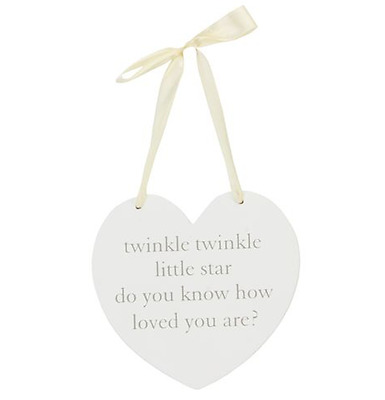 New in Box Cream Wooden Hanging Heart Love Message Baby Gift Wall Hanger Decor