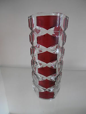 J.G Durand, French, Ruby and Clear Tricorn Glass Vase.