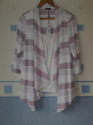 New Ladies Tunic Top  Size 16 Lavender/cream Mix  *roman *