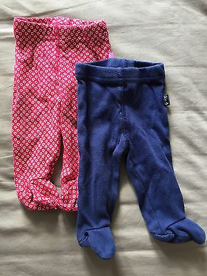 2x Footed Trousers 0-3 Months Jojo Maman Bebe
