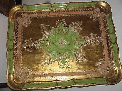 vintage serving tray  green and gold leaf Italian tray
