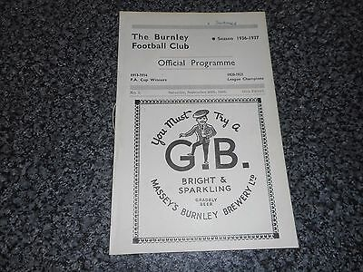***BURNLEY   v  SWANSEA TOWN   1936/7*** SEPTEMBER 26  VINTAGE   ***FREE POST***