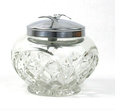 Vintage Chrome Pascal glass sugar bowl with integral mechanical tongs