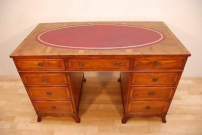 Antique Regency Style Yew Writing Pedestal Desk Leather Top