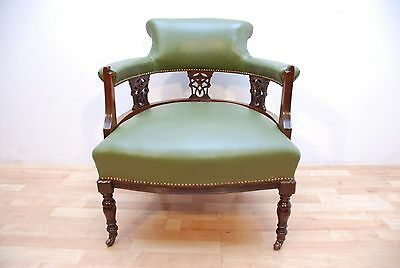 Antique Victorian Captains Tube Green  Leather Armchair
