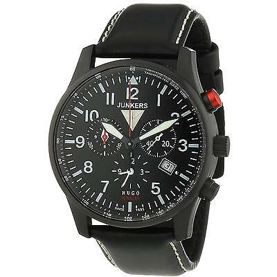 Junkers Men's 42Mm Black Leather Band Steel Case Quartz Watch 6680-2