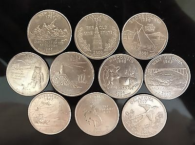 1999-2008 Consecutive  USA state Quarter Dollar coins 11 Coins In All