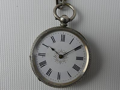 (Ref084) Solid Silver Antique Fob Watch Ticking With Silver Chain Tbar and Key