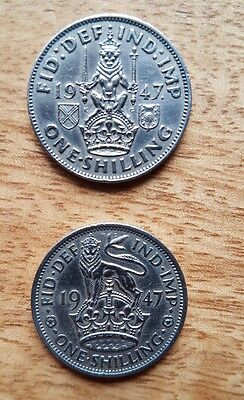one shilling coin king george VI 1947 ×2 coins