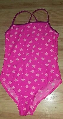 GIRLS George PINK STAR SWIMMING COSTUME AGE 9-10 YEARS- GOOD