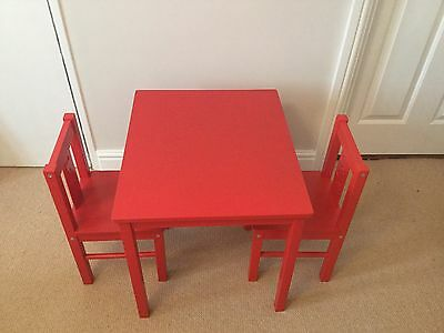 childrens Ikea red table and 2 chairs