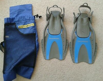 US Divers Snorkel Fins Flippers Youths 3-6 L/XL 35 - 39 , with carry bag