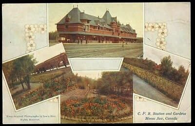 C.p.r. Station & Gardens - Moose Jaw, Sask Postcard