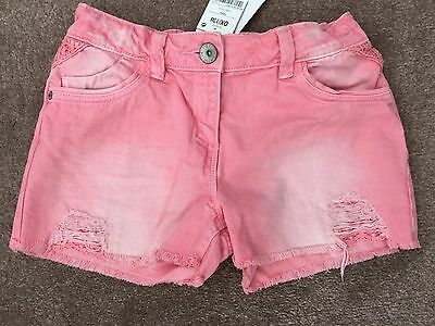 Girls New Next Pink Distressed Look Denim Shorts Age 12 Years