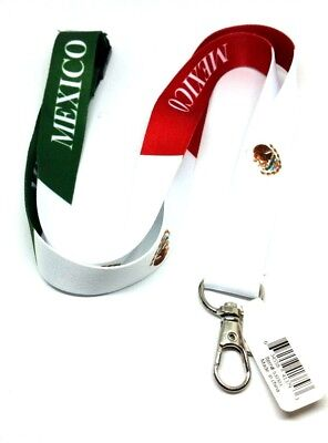 Mexican FLAG LANYARD Keychain Neck strap ID Holder Breakaway MEXICO green red