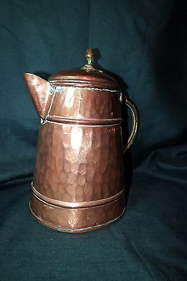 Large Hand Made Copper And Brass Jug With Lid