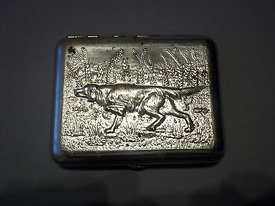 Vintage Soviet Russian USSR 1970s Cigarette Case  Hunter Dog&Birds