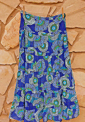 Madison Womens Long Tiered Skirt Blue Multi Color Size 8 Cotton
