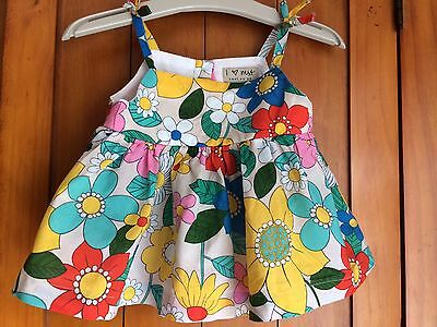 Next Girls 3-6 Months Summer Top, Red, Green, Yellow & Blue Flowers