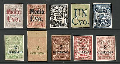 COLOMBIA-CUCUTA. 1907. Selection of 10 Unauthorised Provisionals Surcharges.